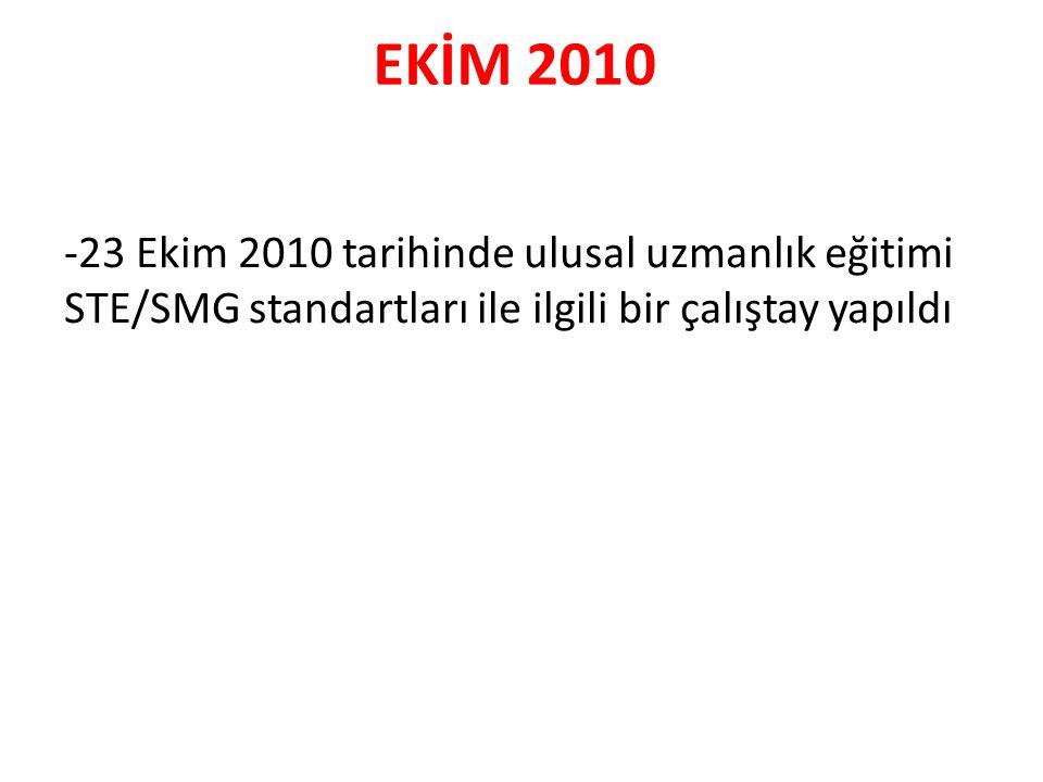 EKİM 2010 -23 Ekim 2010 tarihinde ulusal uzmanlık eğitimi STE/SMG standartları ile ilgili bir çalıştay yapıldı