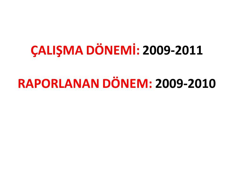 ÇALIŞMA DÖNEMİ: 2009-2011 RAPORLANAN DÖNEM: 2009-2010