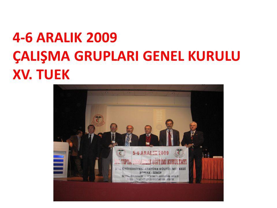 4-6 ARALIK 2009 ÇALIŞMA GRUPLARI GENEL KURULU XV. TUEK