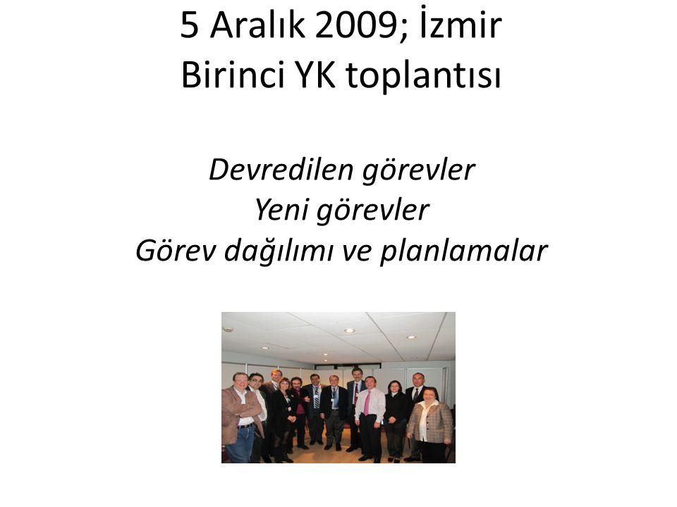 5 Aralık 2009; İzmir Birinci YK toplantısı Devredilen görevler Yeni görevler Görev dağılımı ve planlamalar