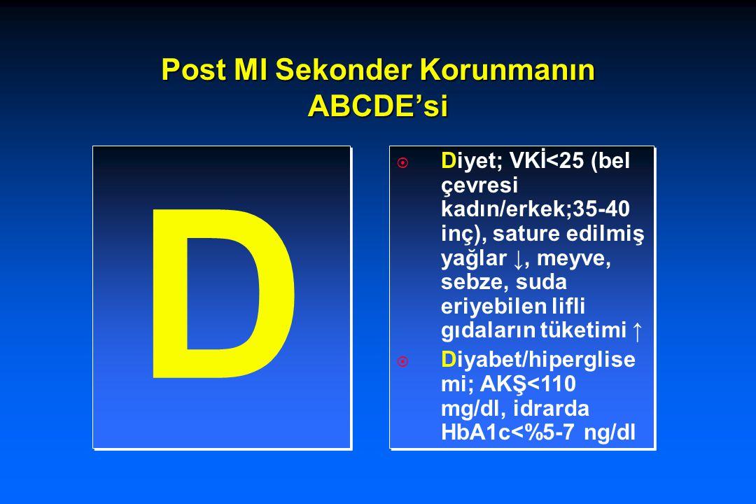 Post MI Sekonder Korunmanın ABCDE'si D D  Diyet; VKİ<25 (bel çevresi kadın/erkek;35-40 inç), sature edilmiş yağlar ↓, meyve, sebze, suda eriyebilen l