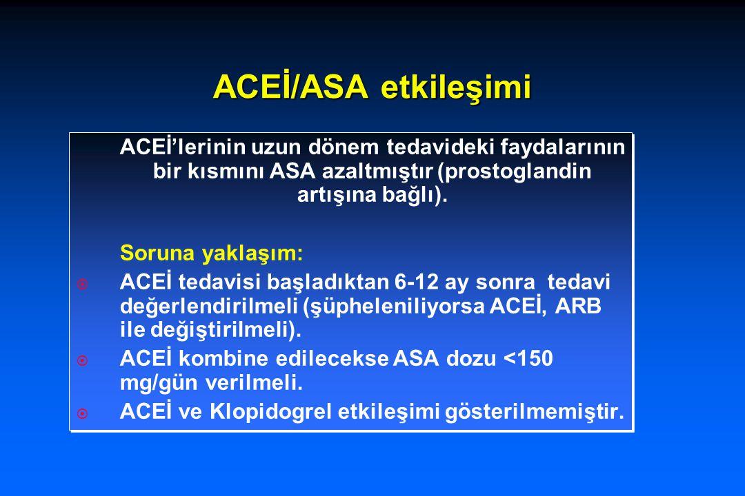 ACEİ/ASA etkileşimi ACEİ'lerinin uzun dönem tedavideki faydalarının bir kısmını ASA azaltmıştır (prostoglandin artışına bağlı). Soruna yaklaşım:  ACE