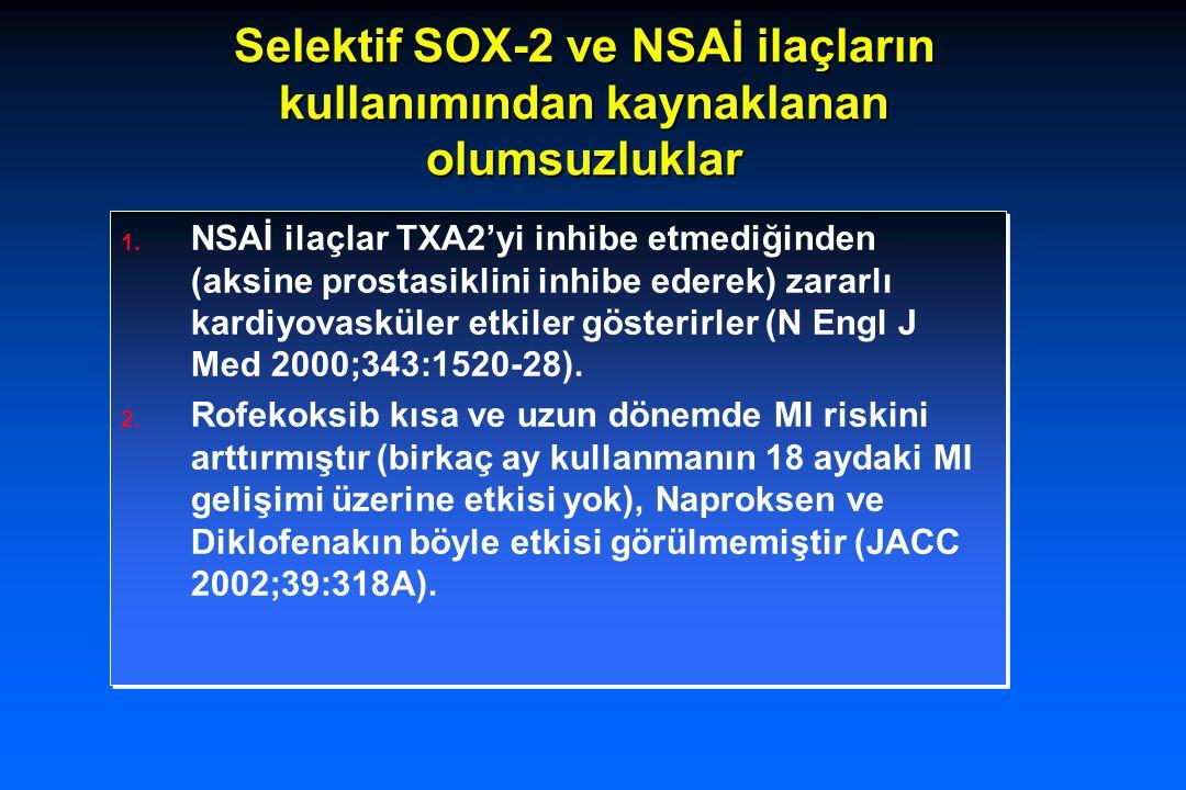 Selektif SOX-2 ve NSAİ ilaçların kullanımından kaynaklanan olumsuzluklar 1. NSAİ ilaçlar TXA2'yi inhibe etmediğinden (aksine prostasiklini inhibe eder