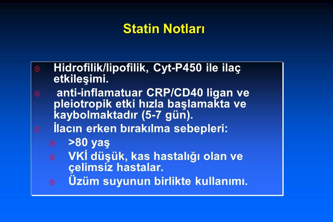 Statin Notları  Hidrofilik/lipofilik, Cyt-P450 ile ilaç etkileşimi.  anti-inflamatuar CRP/CD40 ligan ve pleiotropik etki hızla başlamakta ve kaybolm