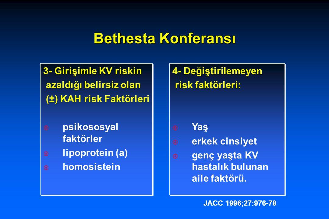 Tedavi ile 5 yılda majör KAH olaylardaki azalma (non-fatal MI, KAH ölümü) TedavilerRisk fakt.de değişme KAH olaylarda relatif azalma LDL-K<70 mg/dl Yüksek doz Statin+diyet %48%38 Kan basıncı <140/90 DM'de <130/80 mmHg Komb: B.Blok,ACEi, KKB Sistolik ↓ 20 mmHg Diastolik ↓ 10 mmHg %63-66 Trombosit fonksiyonu ASA 75-81 mg/gün KAH'da %42 ↓ Post MI Beta Bloker Non-kardiyoselektif, non-İSA KAH ölümü %20 ↓ Post MI ACEiKAH'da %20 ↓ Kardiyak rehabilitasyon Aerobik egzersiz, fiziksel aktivitenin arttırılması KAH ölümü %26 ↓ Akdeniz diyetiKAH ölümü %25 ↓
