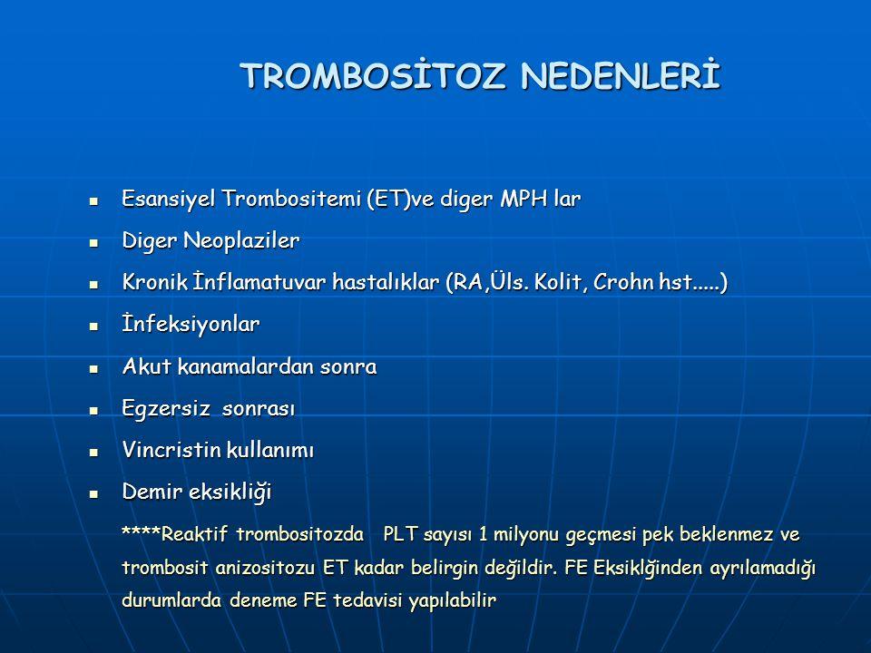 TROMBOSİTOZ NEDENLERİ Esansiyel Trombositemi (ET)ve diger MPH lar Esansiyel Trombositemi (ET)ve diger MPH lar Diger Neoplaziler Diger Neoplaziler Kronik İnflamatuvar hastalıklar (RA,Üls.