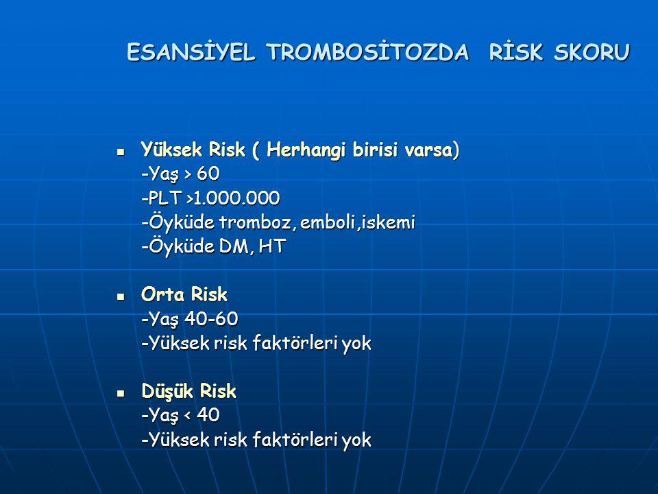 ESANSİYEL TROMBOSİTOZDA RİSK SKORU Yüksek Risk ( Herhangi birisi varsa) Yüksek Risk ( Herhangi birisi varsa) -Yaş > 60 -PLT >1.000.000 -Öyküde tromboz, emboli,iskemi -Öyküde DM, HT Orta Risk Orta Risk -Yaş 40-60 -Yüksek risk faktörleri yok Düşük Risk Düşük Risk -Yaş < 40 -Yüksek risk faktörleri yok
