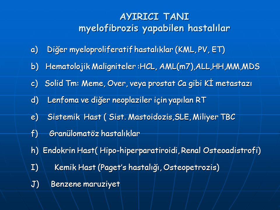 AYIRICI TANI myelofibrozis yapabilen hastalılar a) Diğer myeloproliferatif hastalıklar (KML, PV, ET) b) Hematolojik Maligniteler :HCL, AML(m7),ALL,HH,
