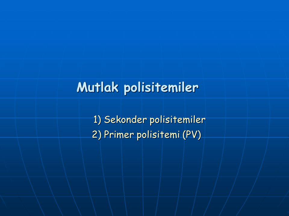 EVRELENDİRME (Cologne kriterleri) Evre1: [A+B+C+F1] Hiperselluler, prefibrotik evre Evre2: [A+B+C+D+F2] Erken evre Evre3: [A+B+D+F3] Belirgin evre Evre4: [A+B+D+E+F3-4] İleri evre (osteomyelosklerozis) A-Önceden herhangi bir MPH ve MDS olmayacak B-Splenomegali (Palpabl veya USG ile >11cm) C-Trombositemi (PLT 500x10 9 /L) D- Anemi ( Hb < 12 gr/dl) E- Lökoeritroblastik kan tablosu F- Histopatoloji (Myeloid ve megakaryositlerde artış, kümeleşme ve dismaturasyon) 1-Retikülin fibroz yok 2-Hafif Retikülin fibroz 3- Retikülin liflerde belirgin artış ve kollagen fibroz 4-Osteosklerozis (endofitik kemik formasyonu)