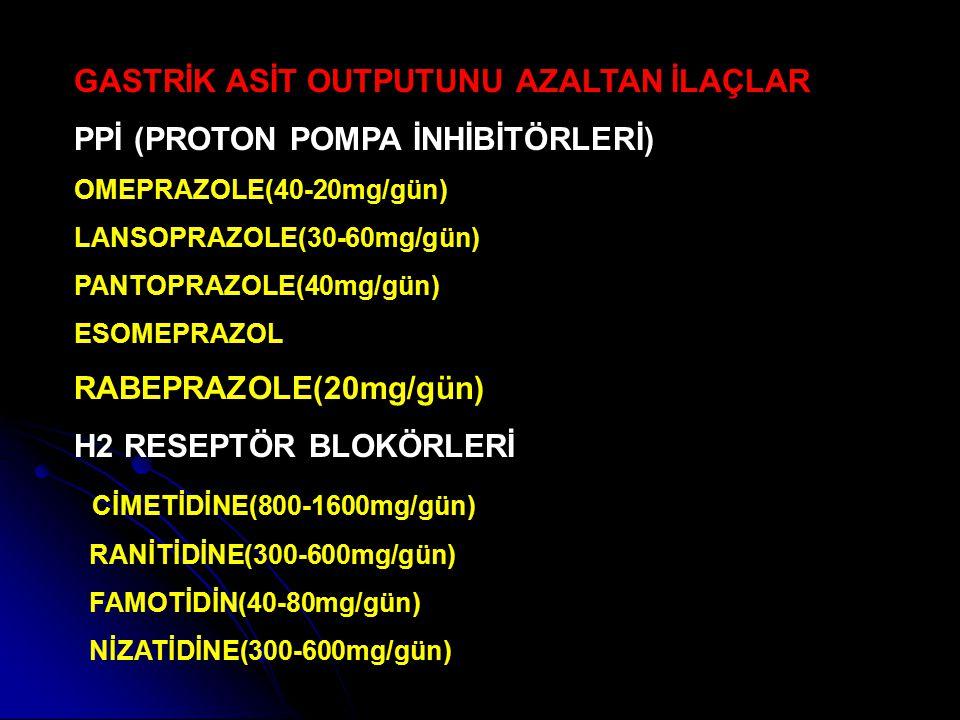 GASTRİK ASİT OUTPUTUNU AZALTAN İLAÇLAR PPİ (PROTON POMPA İNHİBİTÖRLERİ) OMEPRAZOLE(40-20mg/gün) LANSOPRAZOLE(30-60mg/gün) PANTOPRAZOLE(40mg/gün) ESOME