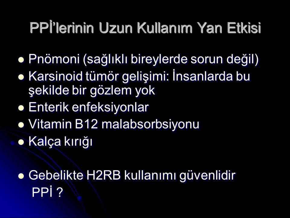 PPİ'lerinin Uzun Kullanım Yan Etkisi Pnömoni (sağlıklı bireylerde sorun değil) Pnömoni (sağlıklı bireylerde sorun değil) Karsinoid tümör gelişimi: İns