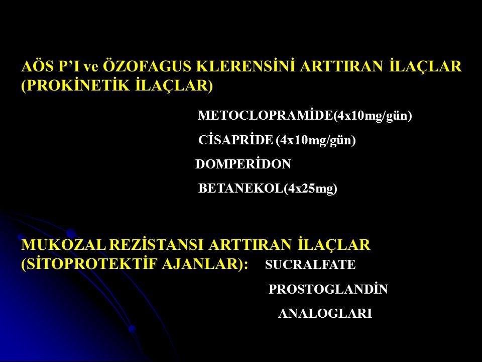 AÖS P'I ve ÖZOFAGUS KLERENSİNİ ARTTIRAN İLAÇLAR (PROKİNETİK İLAÇLAR) METOCLOPRAMİDE(4x10mg/gün) CİSAPRİDE (4x10mg/gün) DOMPERİDON BETANEKOL(4x25mg) MU