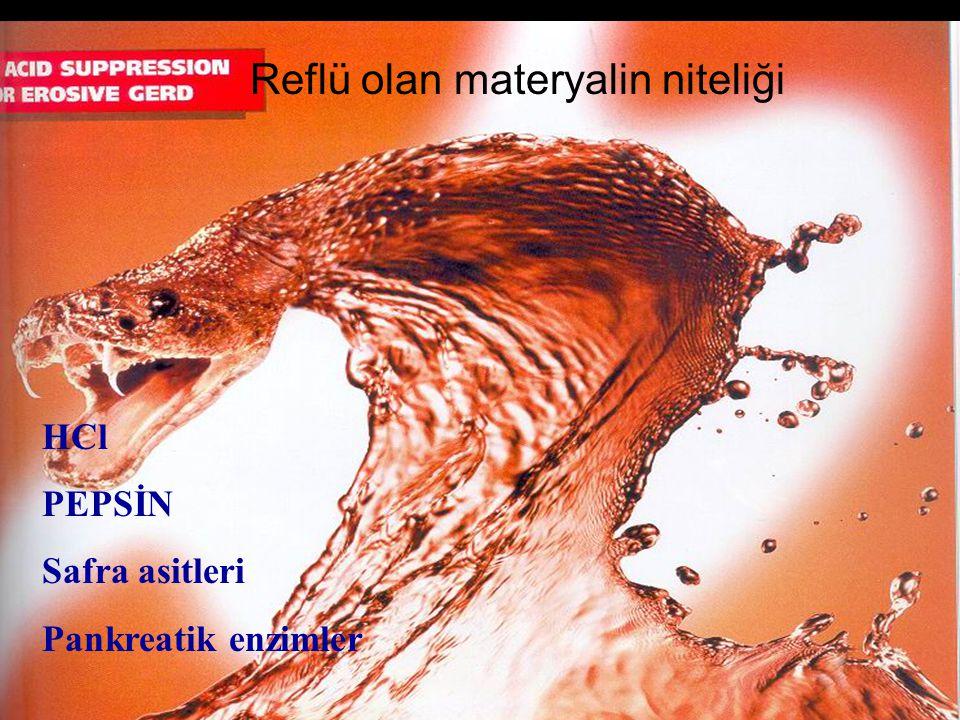 HCl PEPSİN Safra asitleri Pankreatik enzimler Reflü olan materyalin niteliği