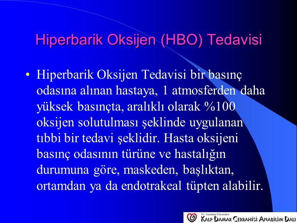 Hiperbarik Oksijen (HBO) Tedavisi Hiperbarik Oksijen Tedavisi bir basınç odasına alınan hastaya, 1 atmosferden daha yüksek basınçta, aralıklı olarak %
