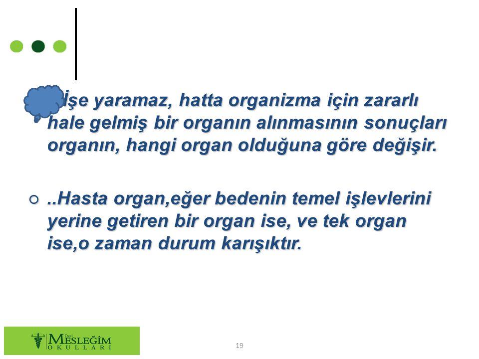 ○ İşe yaramaz, hatta organizma için zararlı hale gelmiş bir organın alınmasının sonuçları organın, hangi organ olduğuna göre değişir. ○..Hasta organ,e