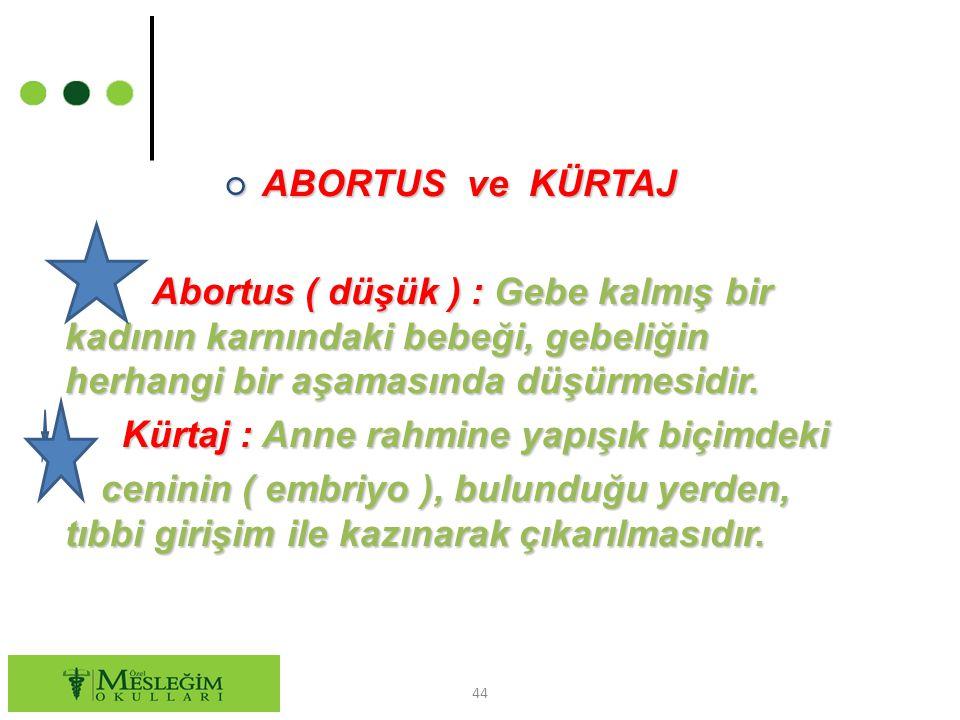 ○ ABORTUS ve KÜRTAJ Abortus ( düşük ) : Gebe kalmış bir kadının karnındaki bebeği, gebeliğin herhangi bir aşamasında düşürmesidir. Abortus ( düşük ) :