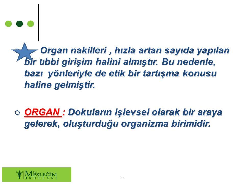 ○ Organ nakilleri, hızla artan sayıda yapılan bir tıbbi girişim halini almıştır. Bu nedenle, bazı yönleriyle de etik bir tartışma konusu haline gelmiş
