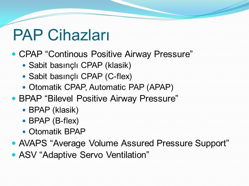 PAP Cihazları CPAP Continous Positive Airway Pressure Sabit basınçlı CPAP (klasik) Sabit basınçlı CPAP (C-flex) Otomatik CPAP, Automatic PAP (APAP) BPAP Bilevel Positive Airway Pressure BPAP (klasik) BPAP (B-flex) Otomatik BPAP AVAPS Average Volume Assured Pressure Support ASV Adaptive Servo Ventilation