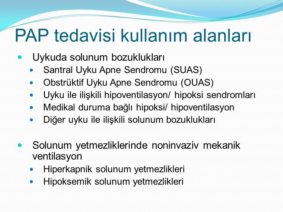 PAP tedavisi kullanım alanları Uykuda solunum bozuklukları Santral Uyku Apne Sendromu (SUAS) Obstrüktif Uyku Apne Sendromu (OUAS) Uyku ile ilişkili hipoventilasyon/ hipoksi sendromları Medikal duruma bağlı hipoksi/ hipoventilasyon Diğer uyku ile ilişkili solunum bozuklukları Solunum yetmezliklerinde noninvaziv mekanik ventilasyon Hiperkapnik solunum yetmezlikleri Hipoksemik solunum yetmezlikleri