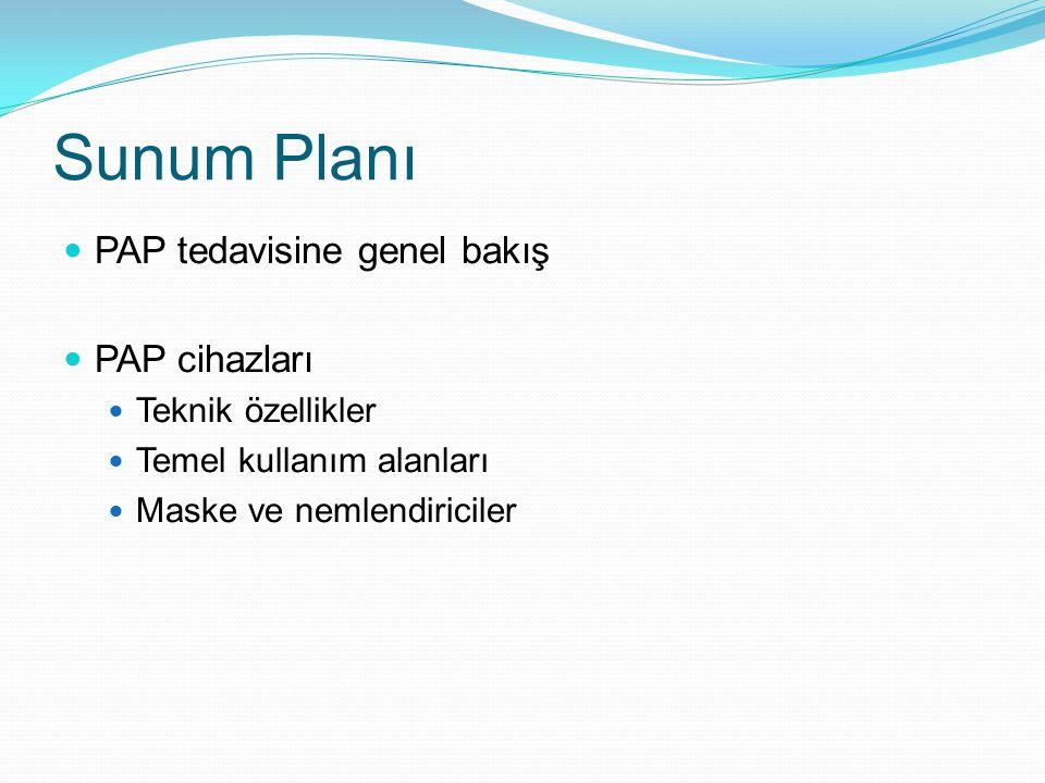 Sunum Planı PAP tedavisine genel bakış PAP cihazları Teknik özellikler Temel kullanım alanları Maske ve nemlendiriciler