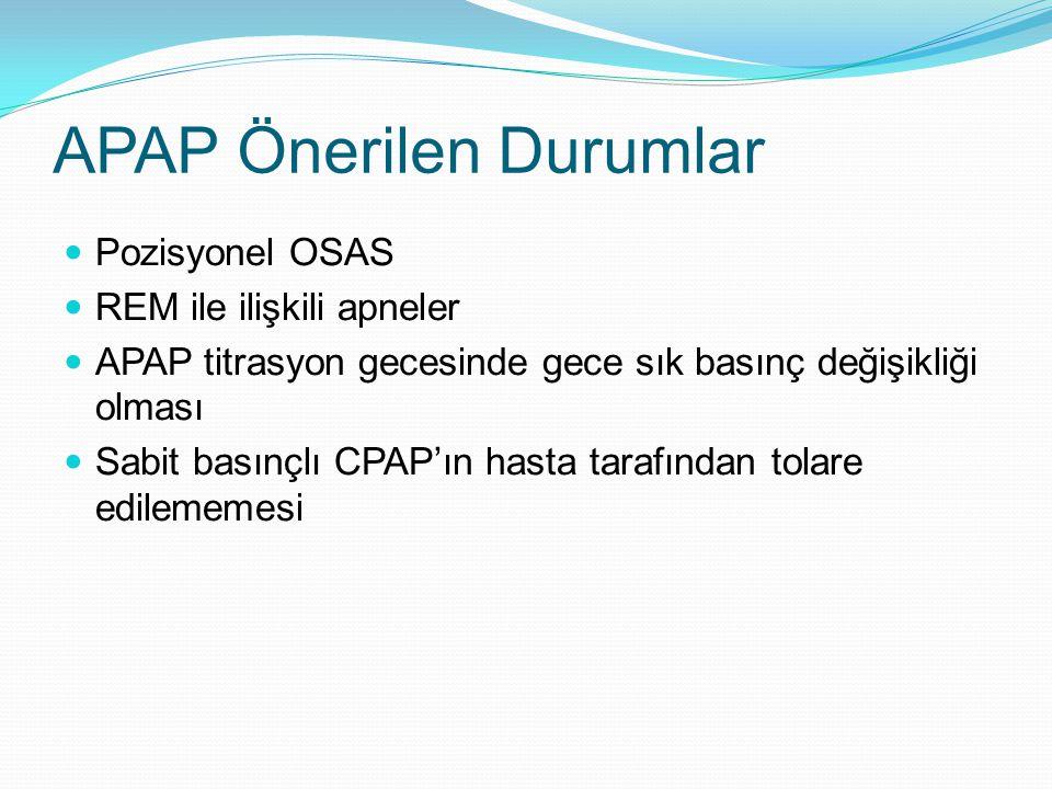 APAP Önerilen Durumlar Pozisyonel OSAS REM ile ilişkili apneler APAP titrasyon gecesinde gece sık basınç değişikliği olması Sabit basınçlı CPAP'ın hasta tarafından tolare edilememesi