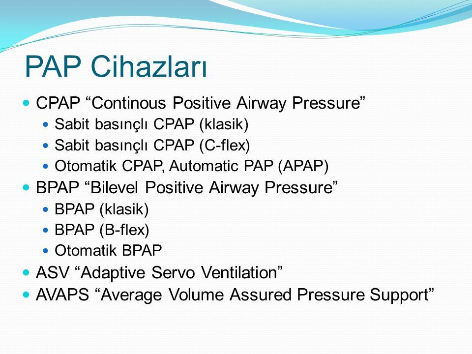PAP Cihazları CPAP Continous Positive Airway Pressure Sabit basınçlı CPAP (klasik) Sabit basınçlı CPAP (C-flex) Otomatik CPAP, Automatic PAP (APAP) BPAP Bilevel Positive Airway Pressure BPAP (klasik) BPAP (B-flex) Otomatik BPAP ASV Adaptive Servo Ventilation AVAPS Average Volume Assured Pressure Support