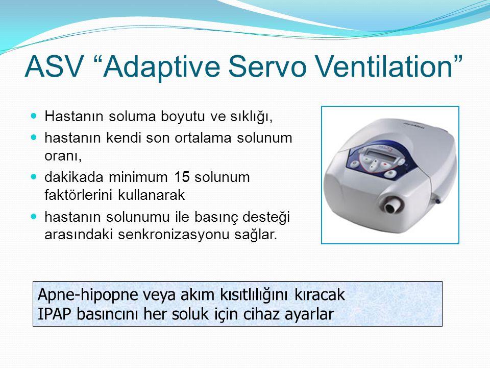 ASV Adaptive Servo Ventilation Hastanın soluma boyutu ve sıklığı, hastanın kendi son ortalama solunum oranı, dakikada minimum 15 solunum faktörlerini kullanarak hastanın solunumu ile basınç desteği arasındaki senkronizasyonu sağlar.