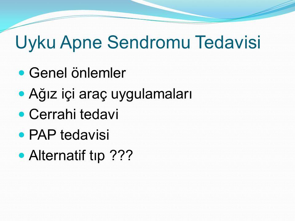 Uyku Apne Sendromu Tedavisi Genel önlemler Ağız içi araç uygulamaları Cerrahi tedavi PAP tedavisi Alternatif tıp ???