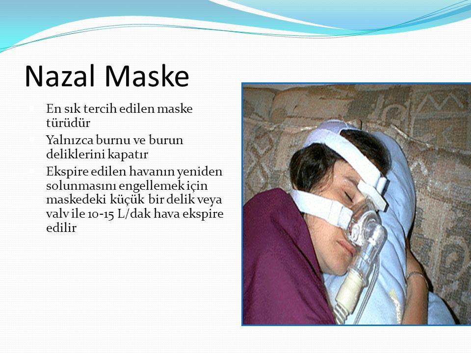 Nazal Maske En sık tercih edilen maske türüdür Yalnızca burnu ve burun deliklerini kapatır Ekspire edilen havanın yeniden solunmasını engellemek için maskedeki küçük bir delik veya valv ile 10-15 L/dak hava ekspire edilir