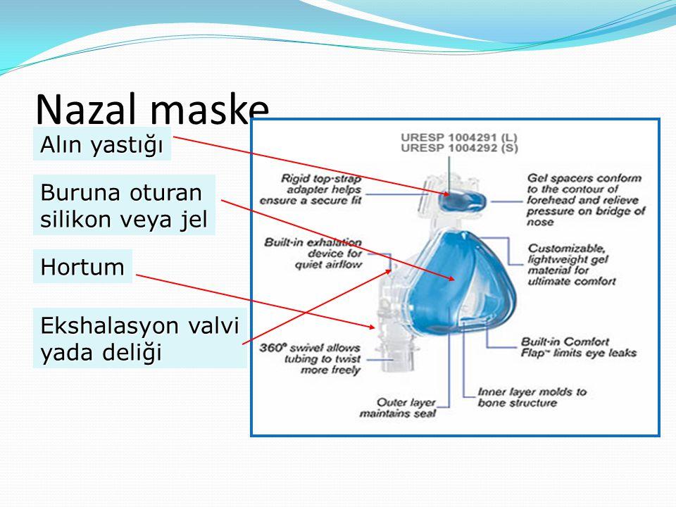 Nazal maske Alın yastığı Buruna oturan silikon veya jel Hortum Ekshalasyon valvi yada deliği