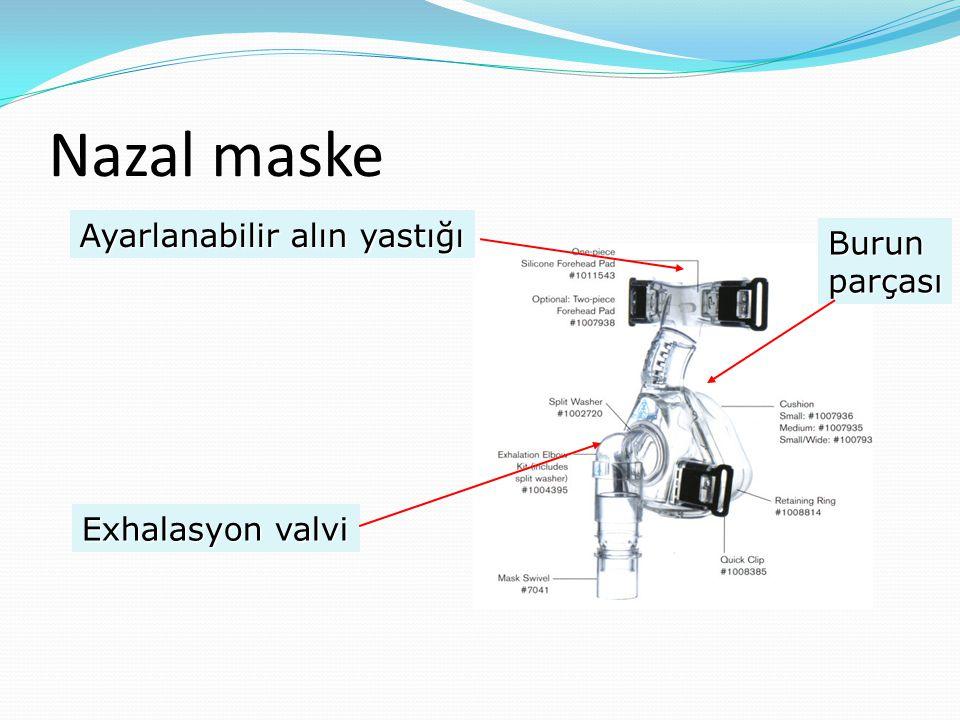 Nazal maske Ayarlanabilir alın yastığı Exhalasyon valvi Burunparçası