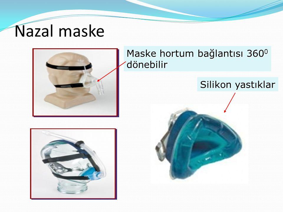 Nazal maske Maske hortum bağlantısı 360 0 dönebilir Silikon yastıklar