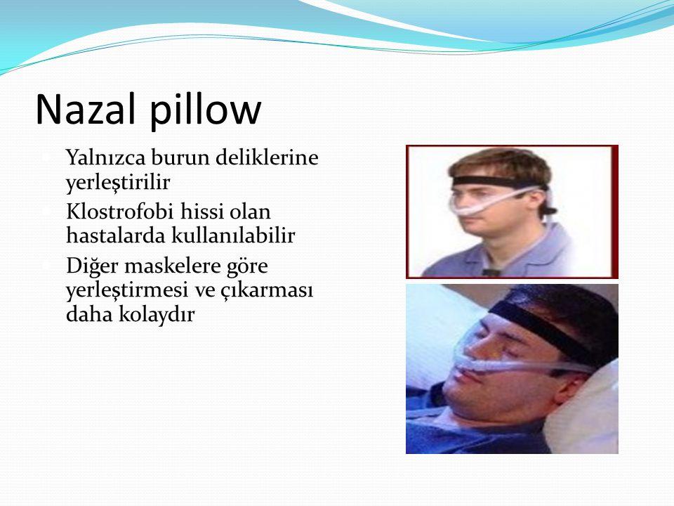 Nazal pillow Yalnızca burun deliklerine yerleştirilir Klostrofobi hissi olan hastalarda kullanılabilir Diğer maskelere göre yerleştirmesi ve çıkarması daha kolaydır