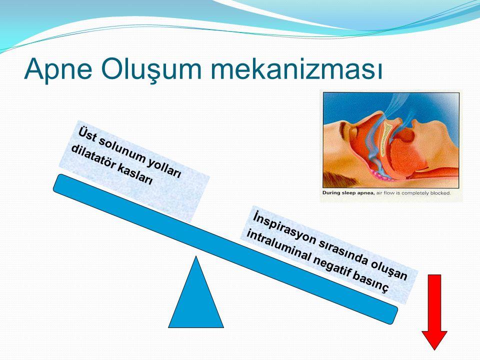 Apne Oluşum mekanizması İnspirasyon sırasında oluşan intraluminal negatif basınç Üst solunum yolları dilatatör kasları