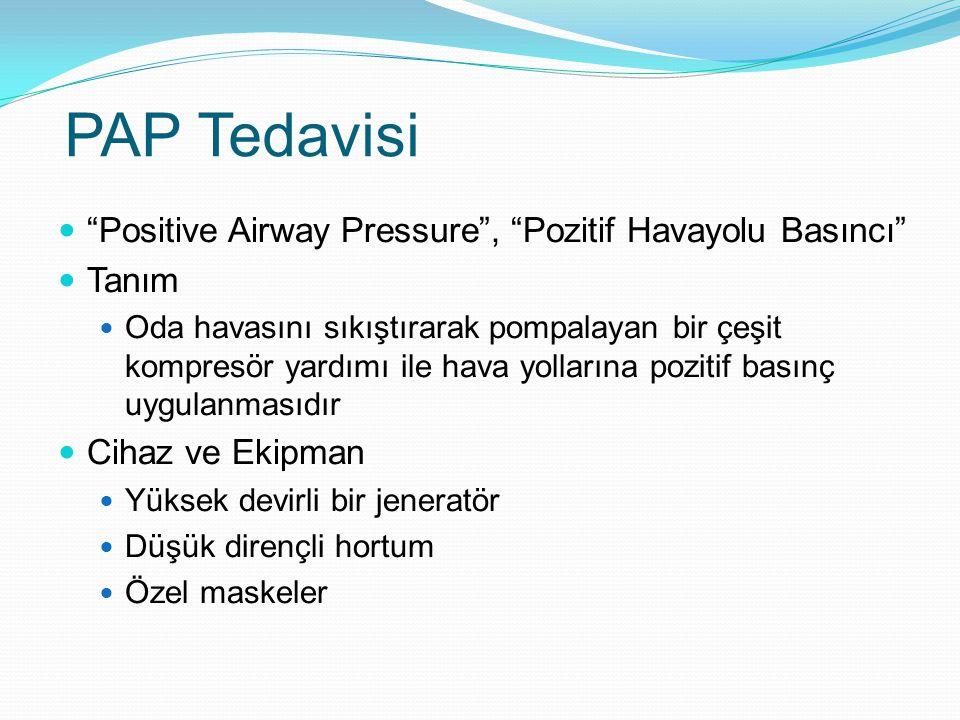 PAP Tedavisi Positive Airway Pressure , Pozitif Havayolu Basıncı Tanım Oda havasını sıkıştırarak pompalayan bir çeşit kompresör yardımı ile hava yollarına pozitif basınç uygulanmasıdır Cihaz ve Ekipman Yüksek devirli bir jeneratör Düşük dirençli hortum Özel maskeler