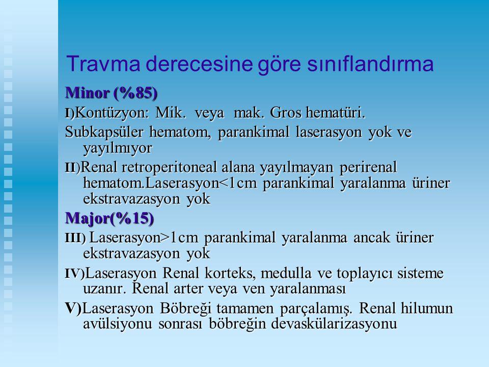 Travma derecesine göre sınıflandırma Minor (%85) I) Kontüzyon: Mik. veya mak. Gros hematüri. I) Kontüzyon: Mik. veya mak. Gros hematüri. Subkapsüler h