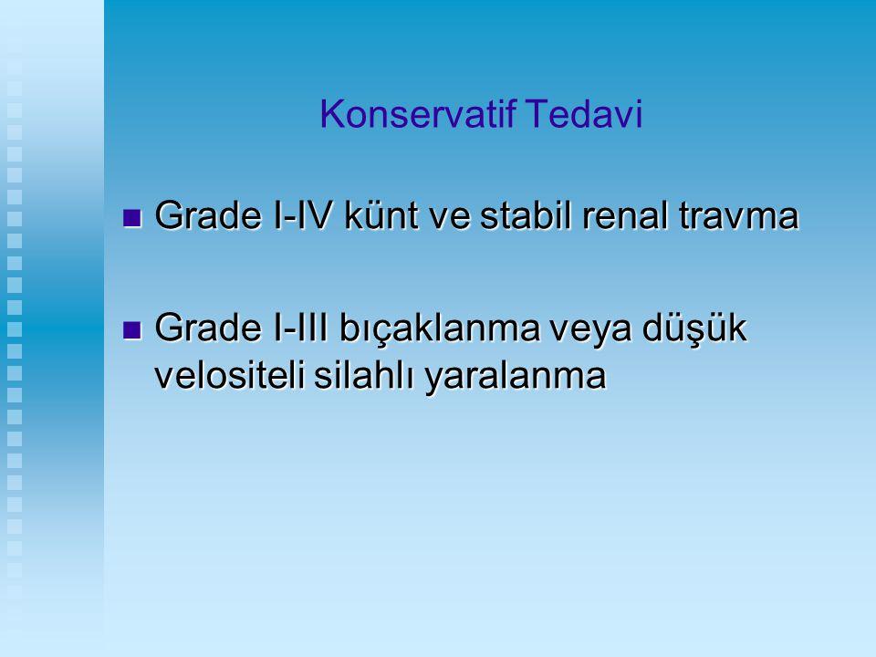 Konservatif Tedavi Grade I-IV künt ve stabil renal travma Grade I-IV künt ve stabil renal travma Grade I-III bıçaklanma veya düşük velositeli silahlı