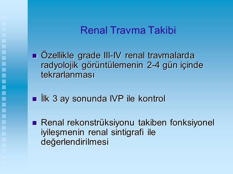 Renal Travma Takibi Özellikle grade III-IV renal travmalarda radyolojik görüntülemenin 2-4 gün içinde tekrarlanması Özellikle grade III-IV renal travm