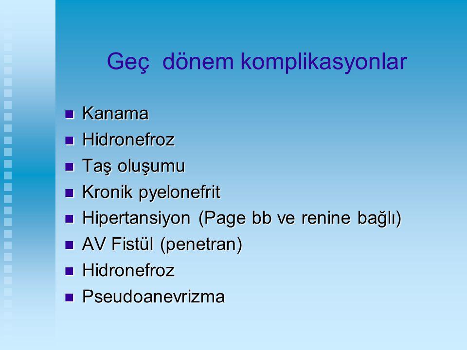 Geç dönem komplikasyonlar Kanama Kanama Hidronefroz Hidronefroz Taş oluşumu Taş oluşumu Kronik pyelonefrit Kronik pyelonefrit Hipertansiyon (Page bb v