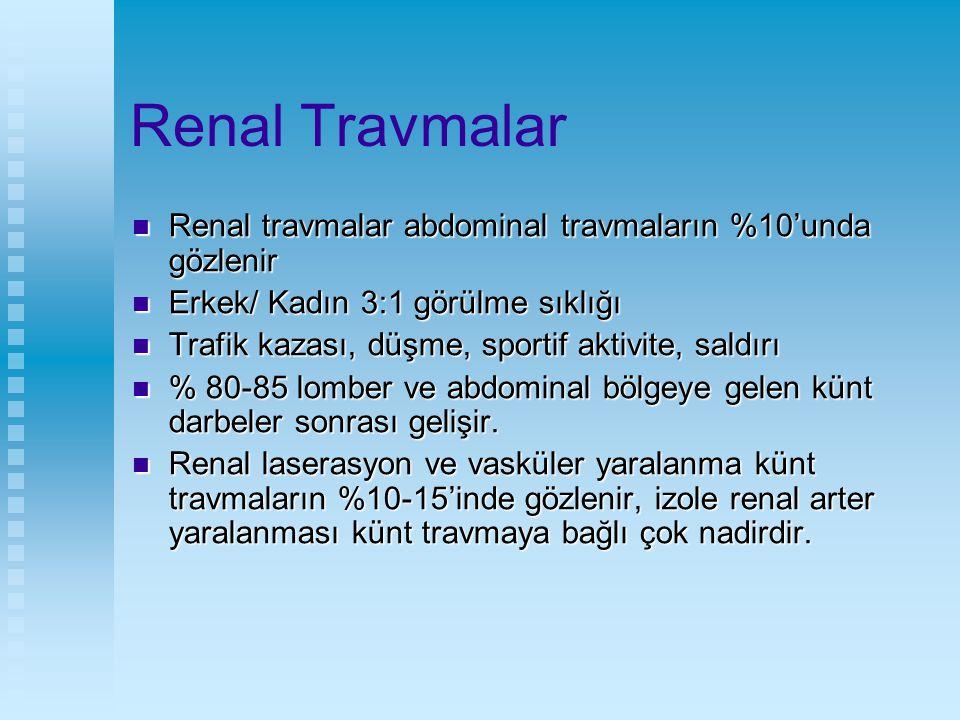 Renal Travmalar Penetran travmalar (beraberinde % 85-90 intraabdominal veya torasik zedelenme) Penetran travmalar (beraberinde % 85-90 intraabdominal veya torasik zedelenme) Penetran travmalar kentlerde daha sık (%20) Penetran travmalar kentlerde daha sık (%20) Künt travmalar ise kırsal kesimde daha yoğun (%90-95) Künt travmalar ise kırsal kesimde daha yoğun (%90-95) Çocuklarda künt travma perinefrik yağ ve kas dokusu yetersiz olduğu için travma şiddeti daha fazladır Çocuklarda künt travma perinefrik yağ ve kas dokusu yetersiz olduğu için travma şiddeti daha fazladır Erişkin gibi hipotansiyon gözlenmez Erişkin gibi hipotansiyon gözlenmez