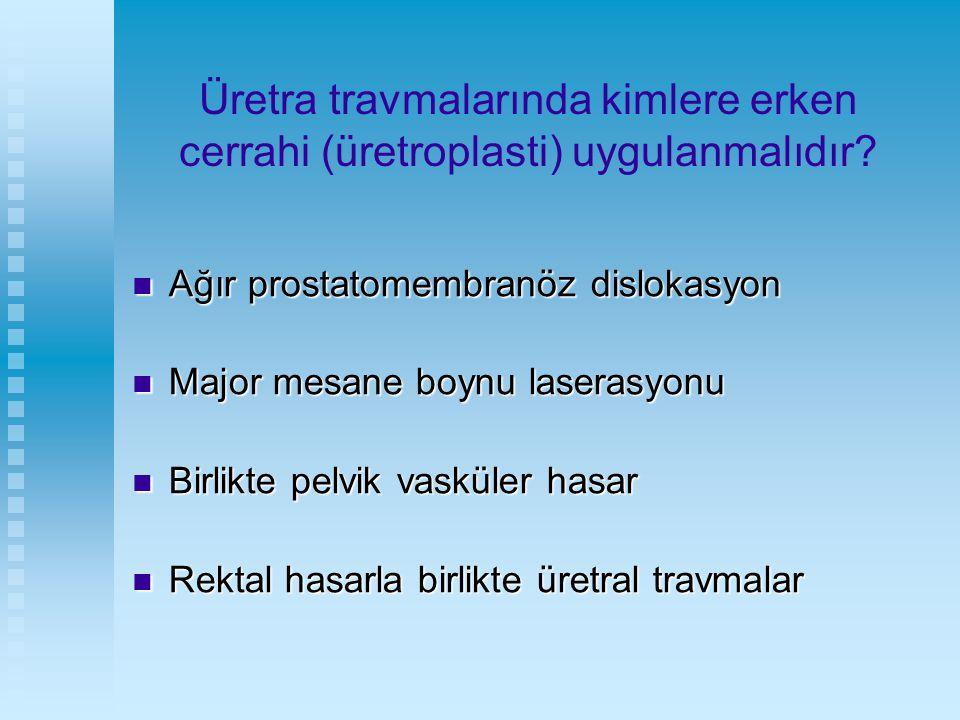 Üretra travmalarında kimlere erken cerrahi (üretroplasti) uygulanmalıdır? Ağır prostatomembranöz dislokasyon Ağır prostatomembranöz dislokasyon Major