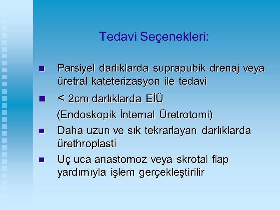 Tedavi Seçenekleri: Parsiyel darlıklarda suprapubik drenaj veya üretral kateterizasyon ile tedavi Parsiyel darlıklarda suprapubik drenaj veya üretral
