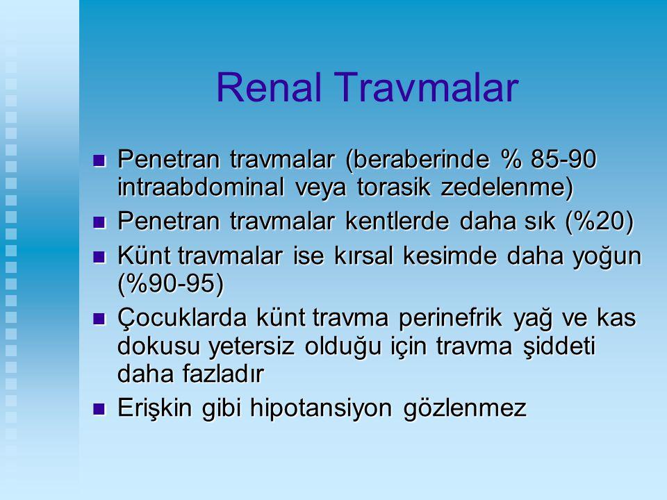 Renal Travmalar Penetran travmalar (beraberinde % 85-90 intraabdominal veya torasik zedelenme) Penetran travmalar (beraberinde % 85-90 intraabdominal