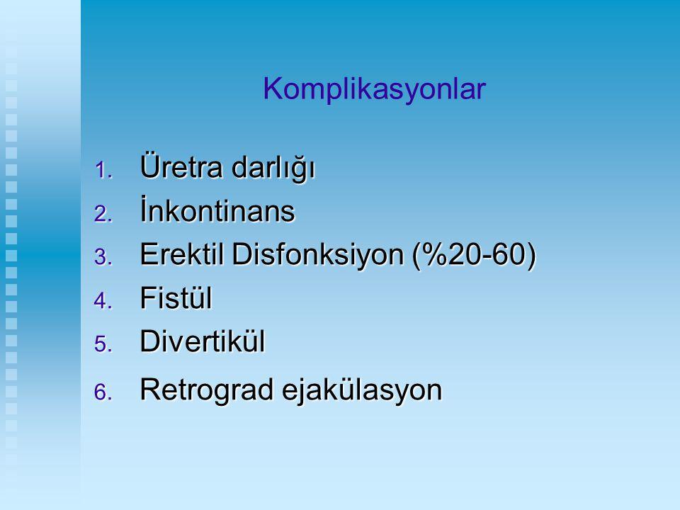 Komplikasyonlar 1. Üretra darlığı 2. İnkontinans 3. Erektil Disfonksiyon (%20-60) 4. Fistül 5. Divertikül 6. Retrograd ejakülasyon
