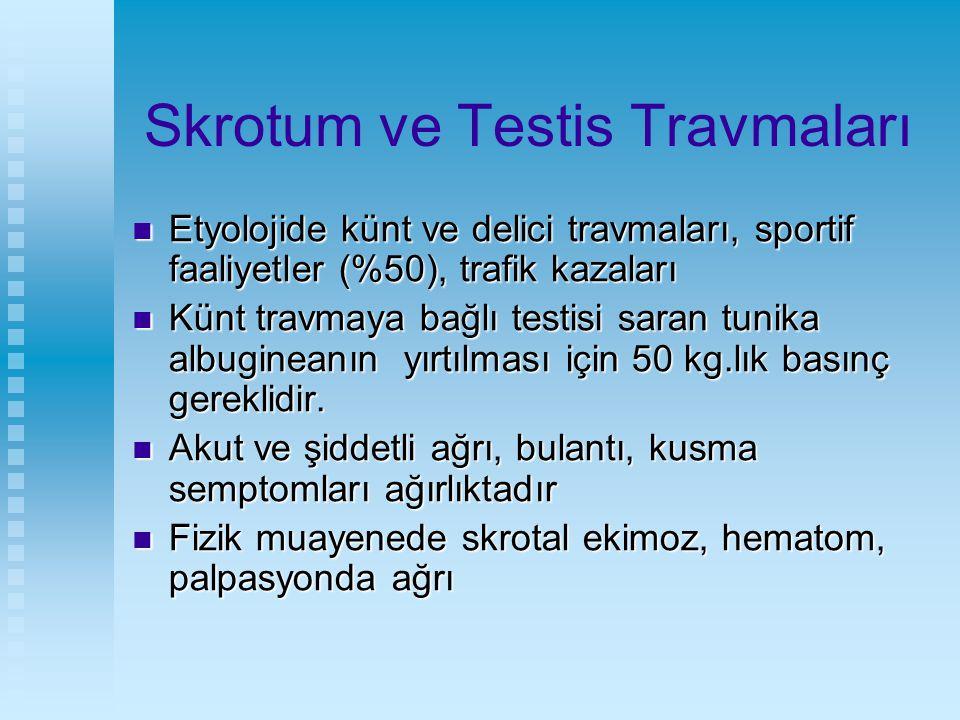 Skrotum ve Testis Travmaları Etyolojide künt ve delici travmaları, sportif faaliyetler (%50), trafik kazaları Etyolojide künt ve delici travmaları, sp