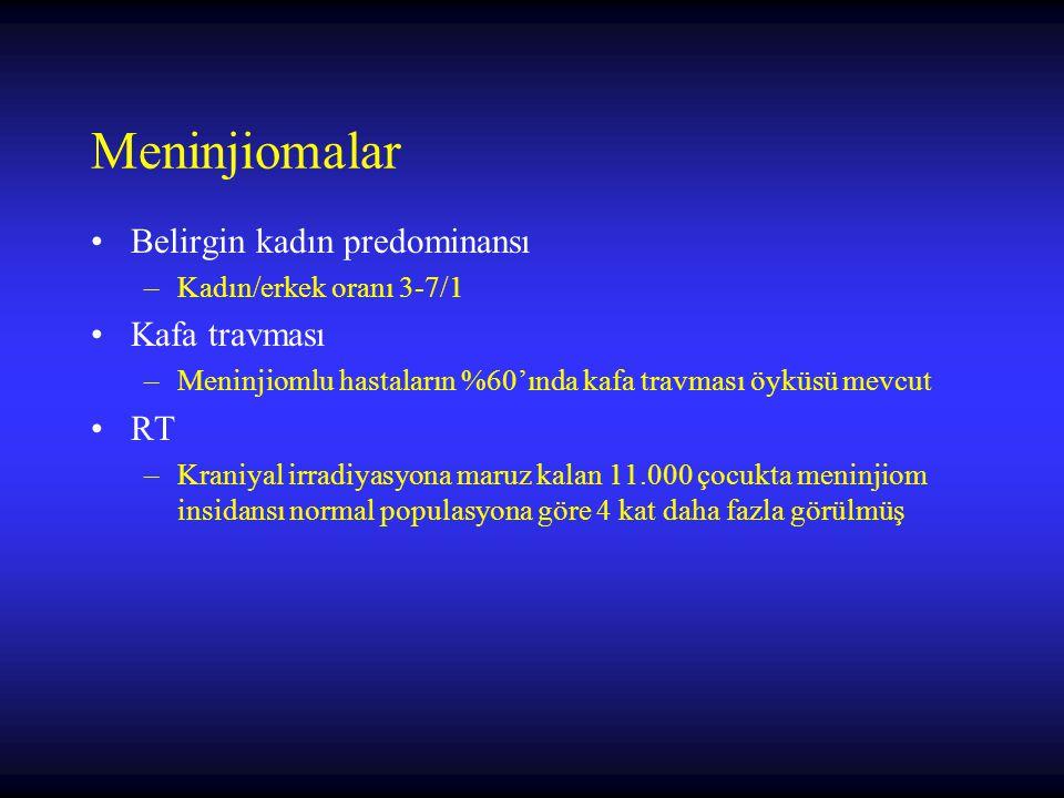 Meninjiomalar Belirgin kadın predominansı –Kadın/erkek oranı 3-7/1 Kafa travması –Meninjiomlu hastaların %60'ında kafa travması öyküsü mevcut RT –Kran