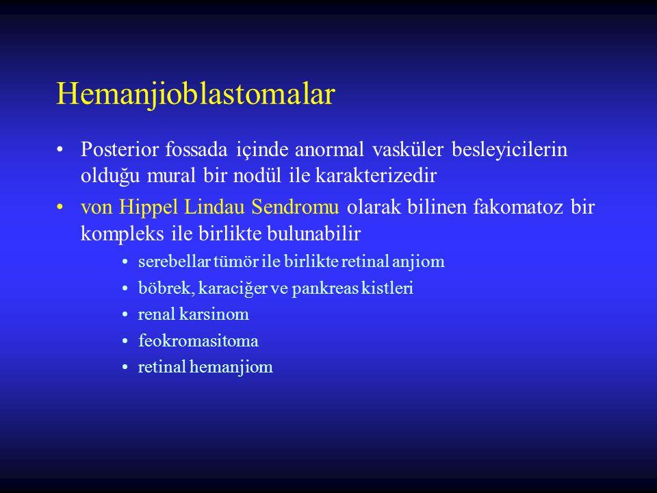 Hemanjioblastomalar Posterior fossada içinde anormal vasküler besleyicilerin olduğu mural bir nodül ile karakterizedir von Hippel Lindau Sendromu olarak bilinen fakomatoz bir kompleks ile birlikte bulunabilir serebellar tümör ile birlikte retinal anjiom böbrek, karaciğer ve pankreas kistleri renal karsinom feokromasitoma retinal hemanjiom