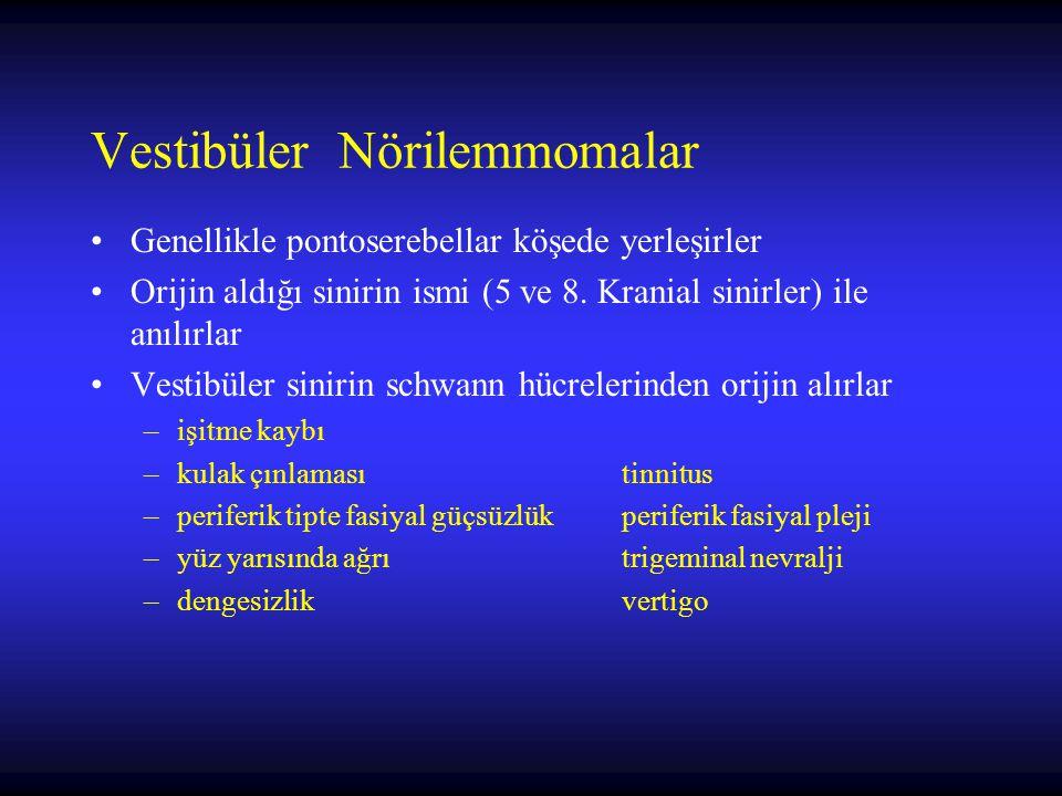 Vestibüler Nörilemmomalar Genellikle pontoserebellar köşede yerleşirler Orijin aldığı sinirin ismi (5 ve 8. Kranial sinirler) ile anılırlar Vestibüler