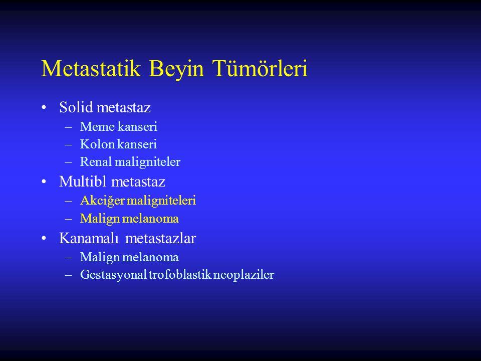 Metastatik Beyin Tümörleri Solid metastaz –Meme kanseri –Kolon kanseri –Renal maligniteler Multibl metastaz –Akciğer maligniteleri –Malign melanoma Kanamalı metastazlar –Malign melanoma –Gestasyonal trofoblastik neoplaziler