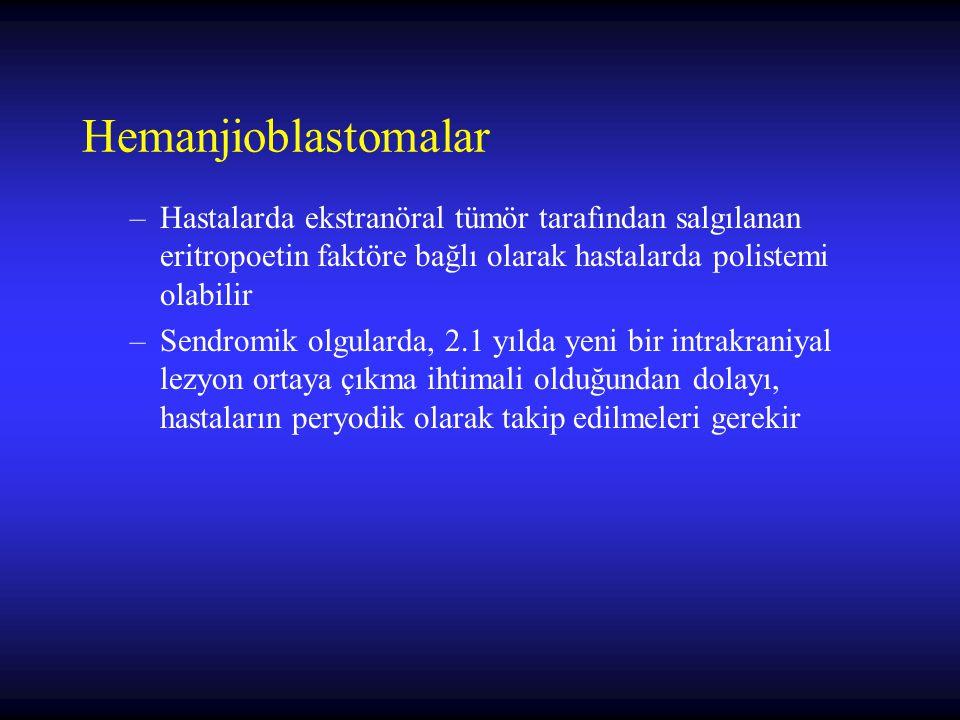 Hemanjioblastomalar –Hastalarda ekstranöral tümör tarafından salgılanan eritropoetin faktöre bağlı olarak hastalarda polistemi olabilir –Sendromik olg